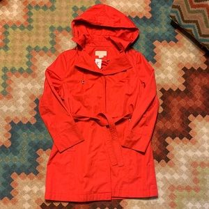 EUC Michael Korda Hooded Belted Coat Red XL